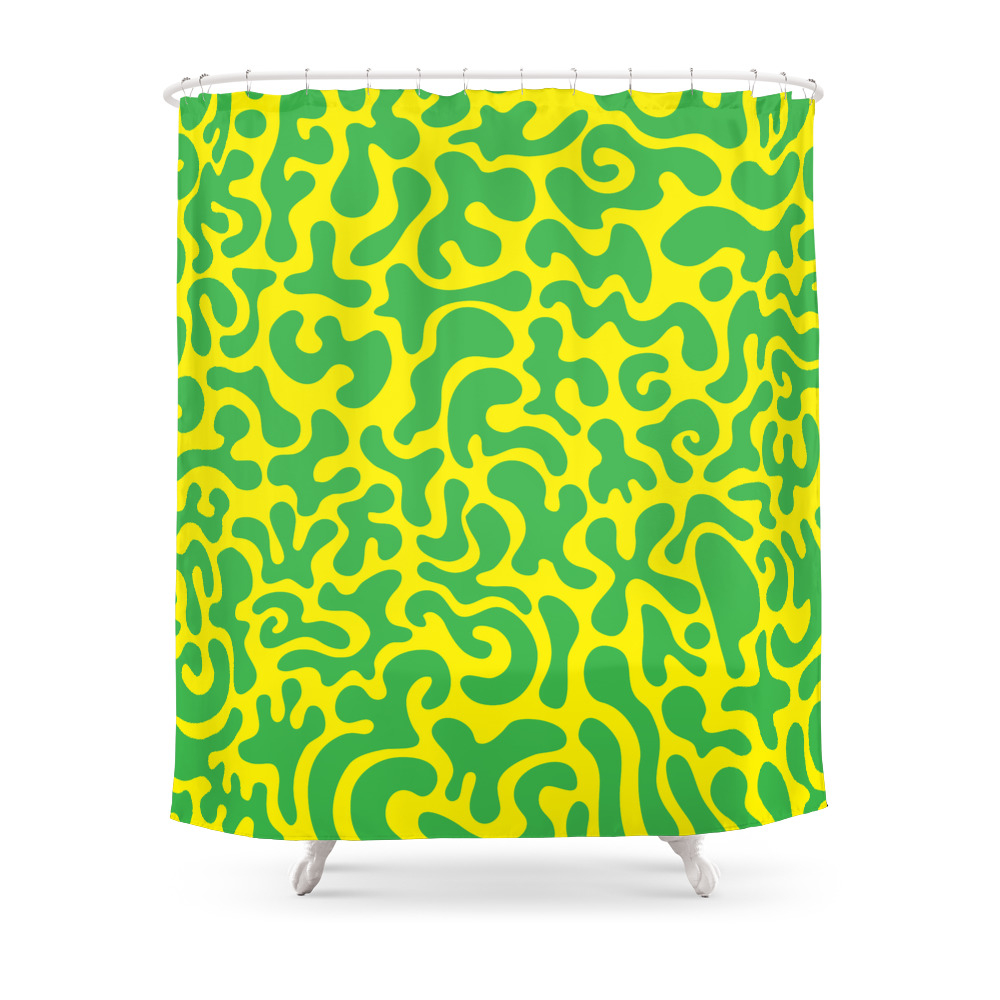Social Networking Green and Yellow Shower Curtain by xpayneart