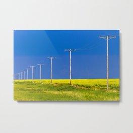 Wood Telephone Poles Canadian Prairies Metal Print