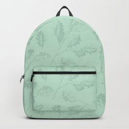 Mint green winter oak leaves botanical illustration Backpack