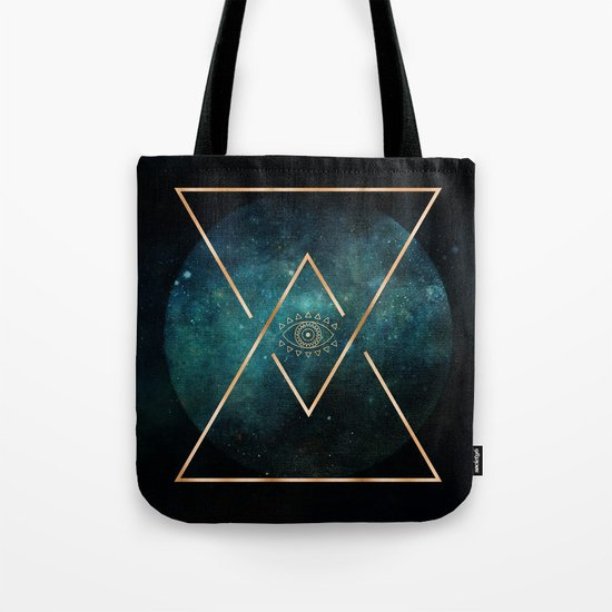Eye Moon Gold Geometric Tribal Bohemian Mandala Tote Bag