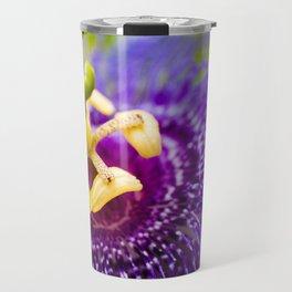 Macro Photo : Purple Passiflora Royale Flower Travel Mug