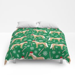 Palomino Horse Christmas - peppermint, candy cane, snowflake, christmas, green and red, santa Comforters