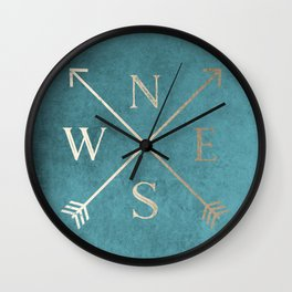 Gold on Turquoise Distressed Compass Adventure Design Wall Clock