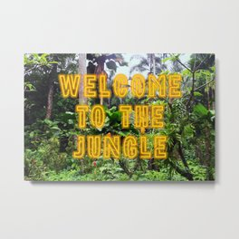 Welcome to the Jungle - Neon Metal Print