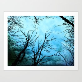 Aqua Skies Tree and Stars A163 Art Print