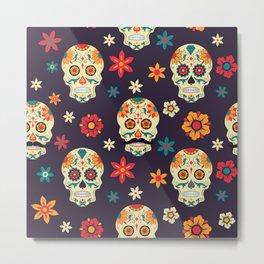 Colorful sugar skuls pattern Metal Print