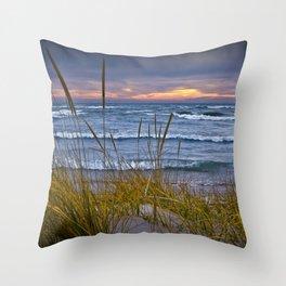 Sunset Photograph of a Dune with Beach Grass at Holland Michigan No 0199 Throw Pillow
