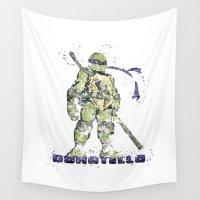 ninja turtles Wall Tapestries featuring Donatello, Teenage Mutant Ninja Turtles by Carma Zoe