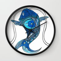 tatoo Wall Clocks featuring Tatoo Koi Fish by PepperDsArt