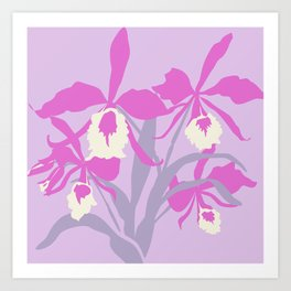 Stylized Cattleya sympodial purple orchid graphic art Art Print