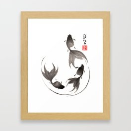 Follow the Leader - Goldfish Sumi-e Painting Framed Art Print