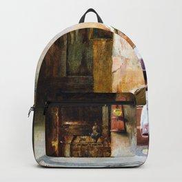 Theodorus Rallis - Young Woman Sleeping In Church - Digital Remastered Edition Backpack