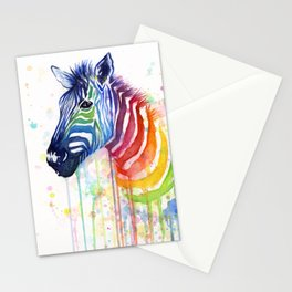 Zebra Watercolor Rainbow Animal Painting Ode to Fruit Stripes Stationery Cards