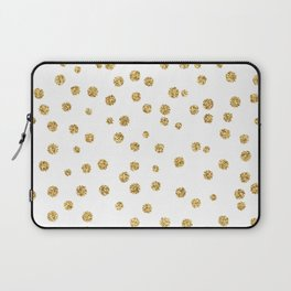 Gold glitter confetti on white - Metal gold dots Laptop Sleeve