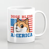 doge Mugs featuring Doge Bless America by Tabner's