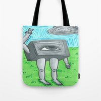 technology Tote Bags featuring Technology life by Diane McGregor Art