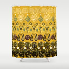 lotus block vintage gold Shower Curtain