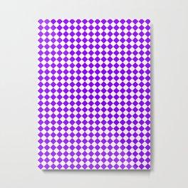 Small Diamonds - White and Violet Metal Print