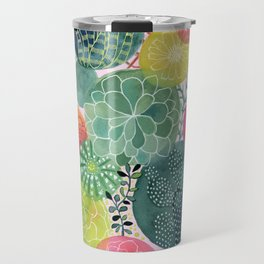 Succulent Circles on Pink Travel Mug