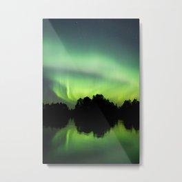 Northern lights glow at night Metal Print