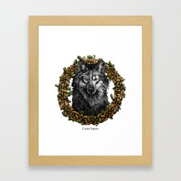 Gray Wolf with Celtic Knotted Oak Border Framed Art Print