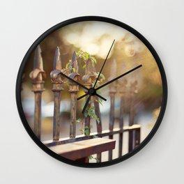 Bokeh and Fleur de Lis Wall Clock