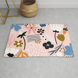 Pretty in Pink Trendy Floral Print Rug