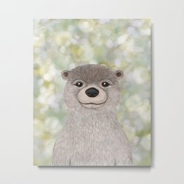 river otter woodland animal portrait Metal Print