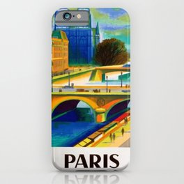 Vintage 1957 Paris River Seine & Notre-Dame Cathedral Travel Advertising Poster by Jacques Garamond iPhone Case