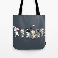 woodstock Tote Bags featuring Run away! Run away!  by Anna-Maria Jung