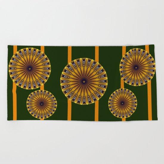 The fractal sunflower Beach Towel