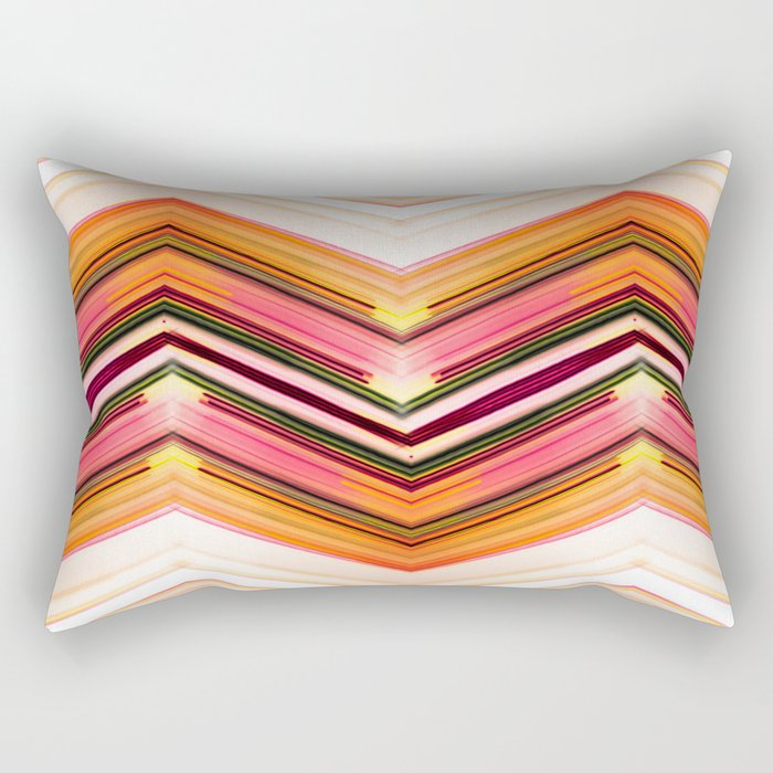Geometric Wave - Red Orange Futuristic Geometric Abstract Rectangular Pillow