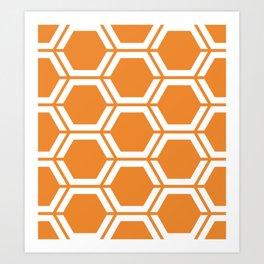 Cadmium orange - orange - Geometric Polygon Pattern Art Print