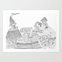Landscape portrait of the sacred valley - Peru Art Print