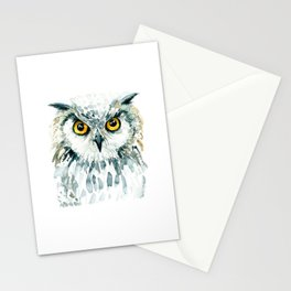 Watercolor Bubo Bubo Owl Stationery Cards