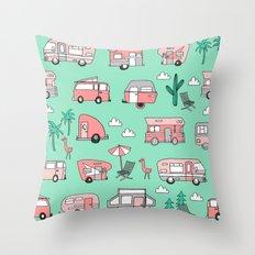 Camper summer vacation tropical pattern RV van life print by andrea lauren Throw Pillow