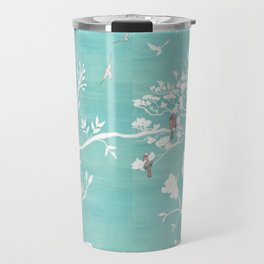 Chinoiserie Panels 1-2 White Scene on Teal Raw Silk - Casart Scenoiserie Collection Travel Mug