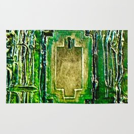 Lost in Oz Abstract Textured emerald Green with Lock Rug
