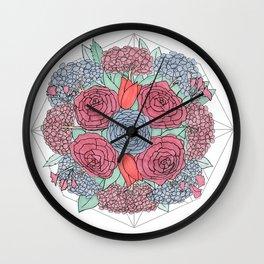 Dark Flowers Wall Clock