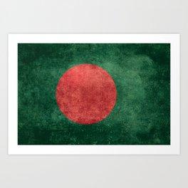 Bangladeshi Flag in retro grunge Art Print