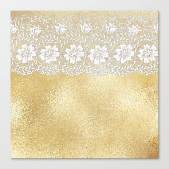 Bridal lace - White floral elegant lace on gold metal backround Canvas Print