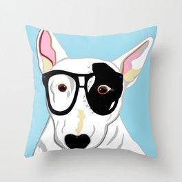 Hipster Bull Terrier Throw Pillow