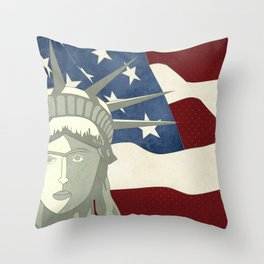 Statue of Liberty American Flag Throw Pillow
