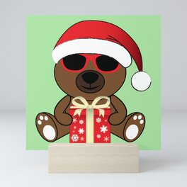 Cool Santa Bear with sunglasses and gift Mini Art Print