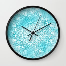 Blue Sky Mandala in Turquoise Blue and White Wall Clock