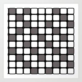 BLACK GREY AND WHITE RECTANGLE TILE  {BASIcs JHD} Art Print
