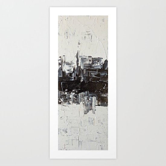 Flatline - black & white abstract painting Art Print