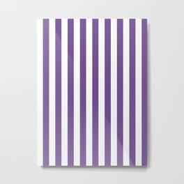 Narrow Vertical Stripes - White and Dark Lavender Violet Metal Print