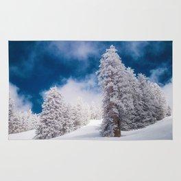 White Snow Evergreens (Color) Rug