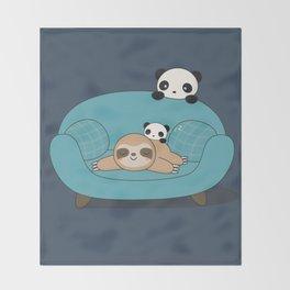 Kawaii Panda and Sloth Throw Blanket